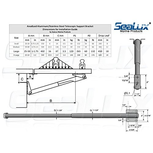 SeaLux Marine Telescopic Support Bracket for Boat, RV and Home